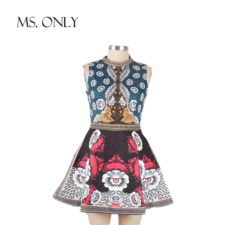 MS. ONLY 2016 European Runway Brand Style Handmade Beading Dresses High Quality Vintage Summer Jacquard Print Mini Dress DS036(China (Mainland))