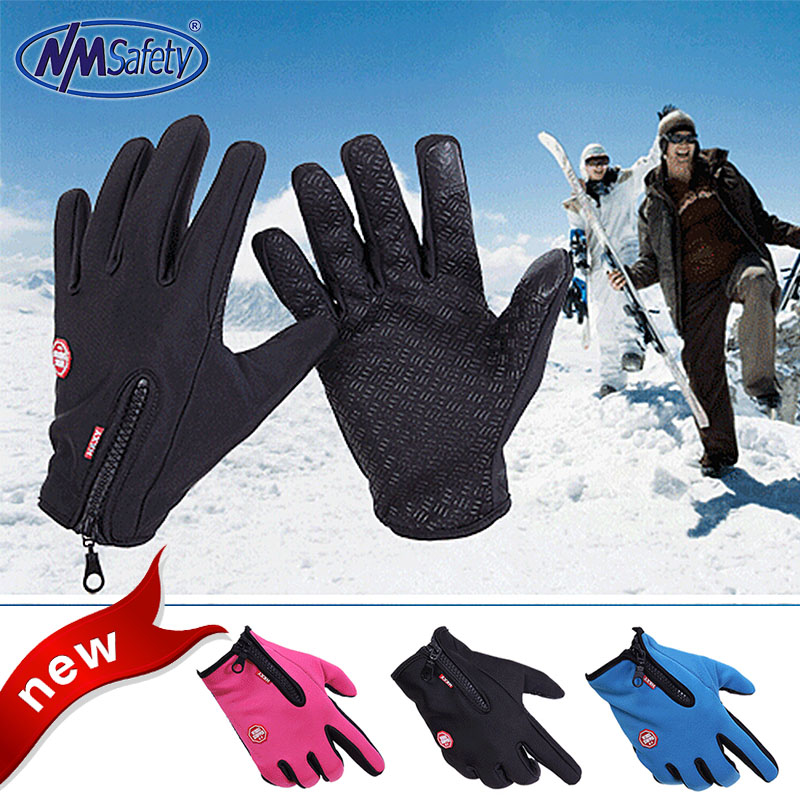 2016 Winter outdoor ski sports men and women riding full finger touch non-slip waterproof windproof fleece warm cold gloves(China (Mainland))