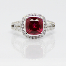 Simulated Ruby corundum Square 925 Pure Silver Platinum Rings for Women Red Color swiss diamond Fashion elegant noble Date