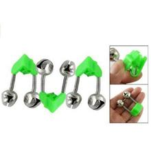 12pcs Bite Alarm Fishing Rod Twins Fish Bell Alarm Pole Alarm Clip Green