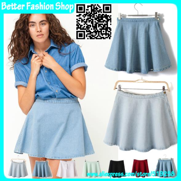 American Apparel Denim mini skirts women 2014 fashion 7 colors high waist solid cotton short skater skirt plus size - Better Fashion Shop store