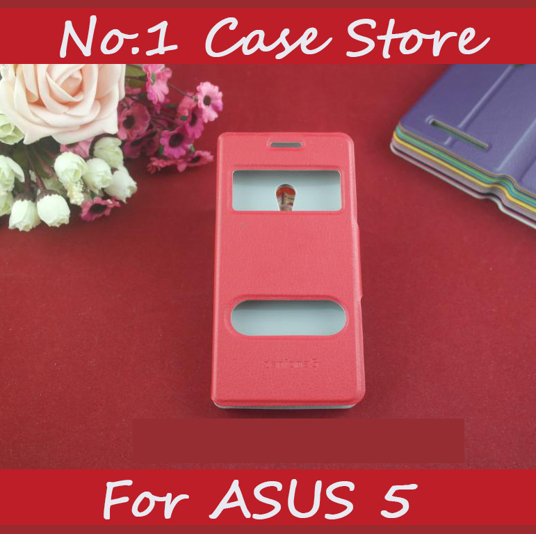 Double Open Window Flip Leather Cell Phone Case Cover For Asus Zenfone 5 a501cg Call ID Caller Display Double View Cover Bag(China (Mainland))