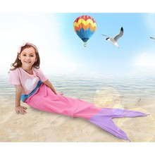 Mermaid Blanket Towel Envelopes For 5-12T Kids Soft Animal Sleeping Bag Pajamas Overalls Children Quilt Velvet Shark Blanket(China (Mainland))