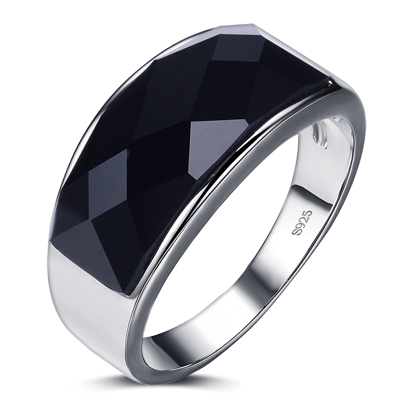 2016 New arrival high quality black agate gem stone 925 sterling silver men finger rings wedding ring for man jewelry wholesale(China (Mainland))