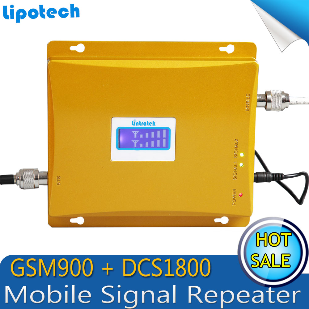 LCD Display!! 4G LTE 1800MHz + 2G GSM 900Mhz Dual Band Mobile Phone Signal Booster GSM 900 DCS 1800 Signal Repeater Amplifier(China (Mainland))