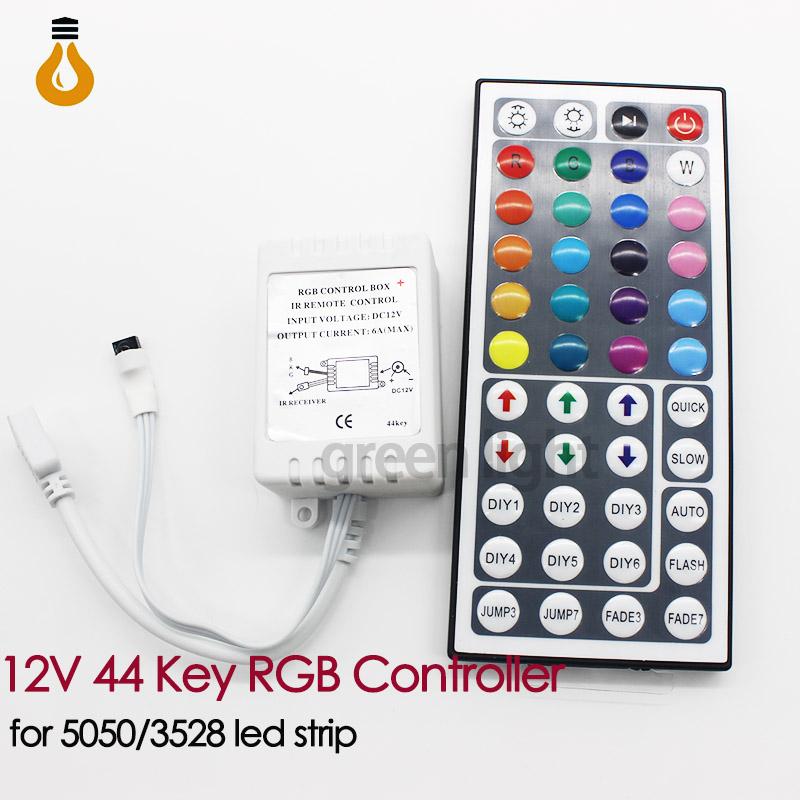 Free Shipping 44 Keys LED IR RGB Controler LED Lights Controller IR Remote Dimmer Input DC12V 6A For RGB SMD 3528 5050 LED Strip(China (Mainland))