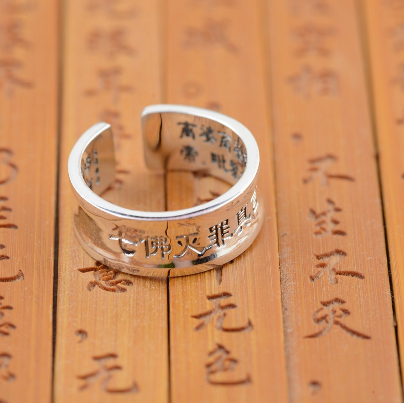 Sterling Silver Ring wholesale S999 Silver Antique Style seven Buddha Buddhist mantra jewelry lovers of crime(China (Mainland))