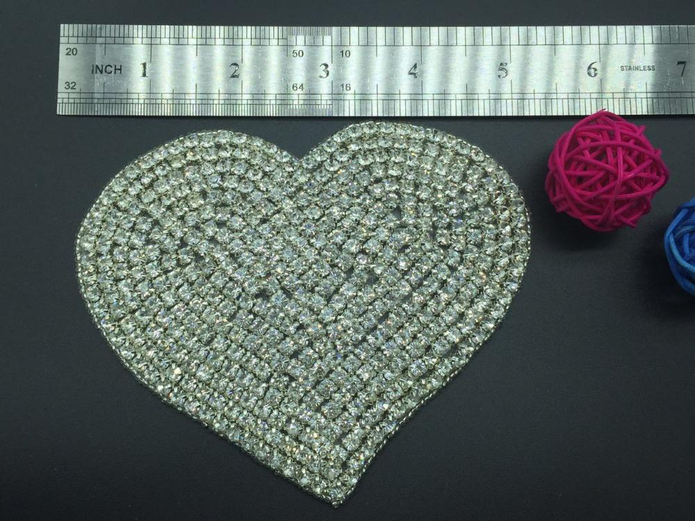 decorative heart shape silver iron on Bling crystal bridal gown wedding sash rhinestone appliques(China (Mainland))