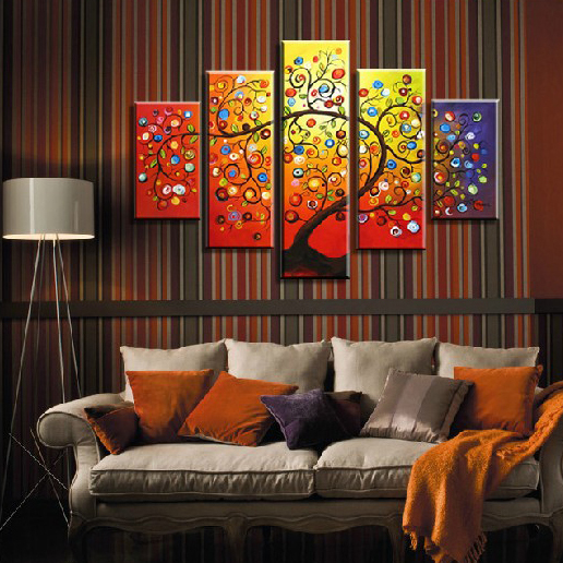 Hand Painted Art Set canvas Wall Picture Home Decoration Oil Painting on canvas 5 Piece Canvas Art Framed Money tree(China (Mainland))