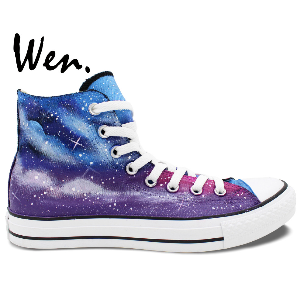 Painted Canvas Shoes Hand Painted Art Wen High Top Galaxy Dark Blue And Purple Back Woman Man Sneakers(China (Mainland))