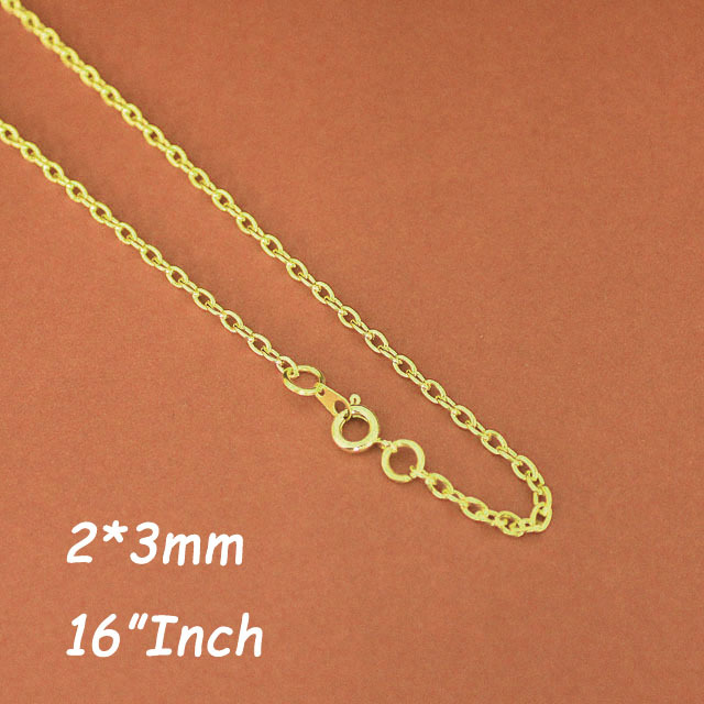 Bulk Sale 16 Gold Plated 2mm Cable Chains Necklace With Round Spring Clasp For Fashion Jewelry Pendant DIY Findings<br>
