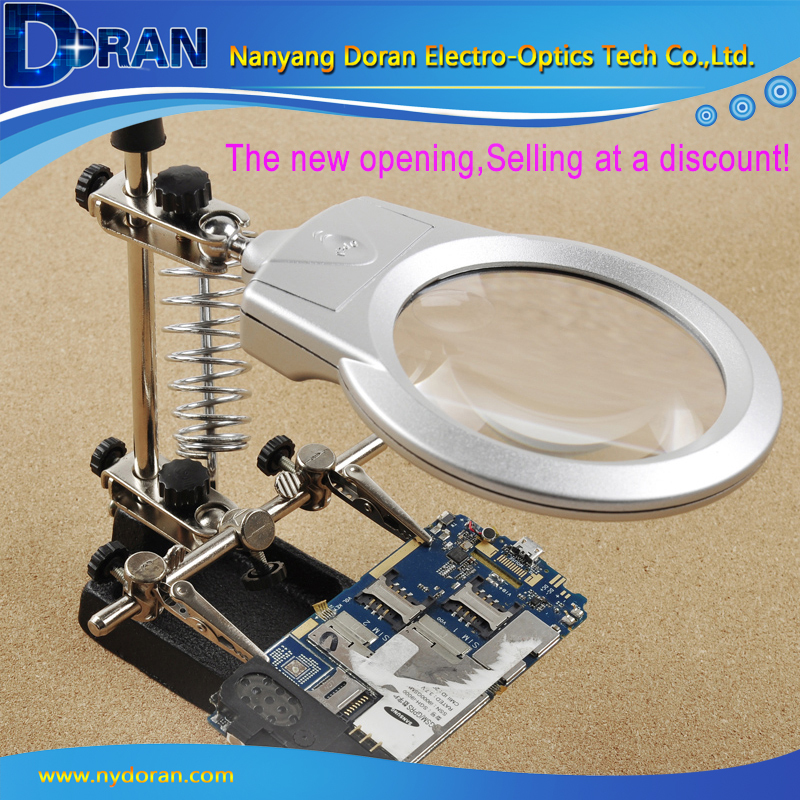 Free Helping Hand Loupe Desktop Magnifying Glass LED Light Auxiliary Clip Magnifying Soldering Iron Jewelry Stand Lens MG16129-A(China (Mainland))