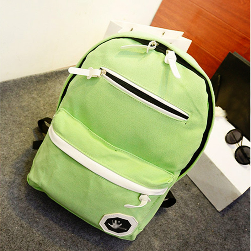 Casual Schoolbag Grass Green Canvas Backpacks Practical Traveling Outdoor Sport Backpacks Adjustable Straps(China (Mainland))