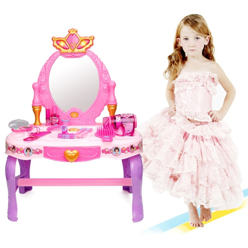 14pcs/set Pink Dream Makeup Center Dressing Room Princess Doll Accessories Furniture Lovely Girls Baby DIY Toys(China (Mainland))