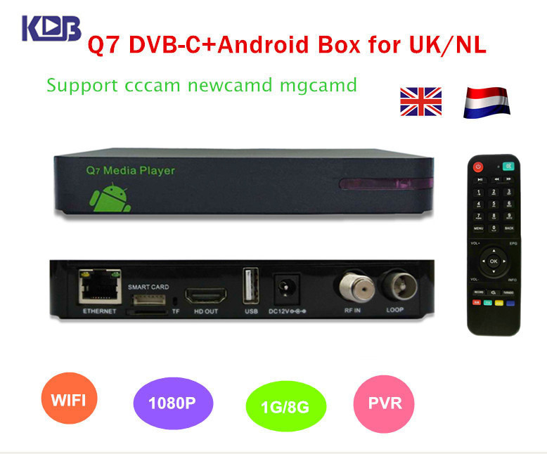 Free shipping to NL / UK DVB-C Q5 TV cable box upgrade to HD Q7 Android DVB C cccam receiver support WIFI PVR IPTV(China (Mainland))