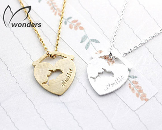 Wholesale 30Pcs Gold Silver Dolphin Heart Metal Tag Engraved Words Women Statement Steel Fashion Necklace Christmas Gifts Idea<br><br>Aliexpress