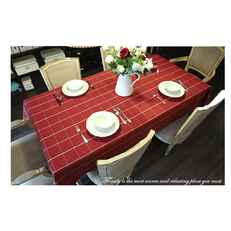 55x86 Inch Rectangular Polyester Linen Tablecloth White Grid Country Style Tablecloth End Table Cover Kitchen Dining Table Cloth(China (Mainland))
