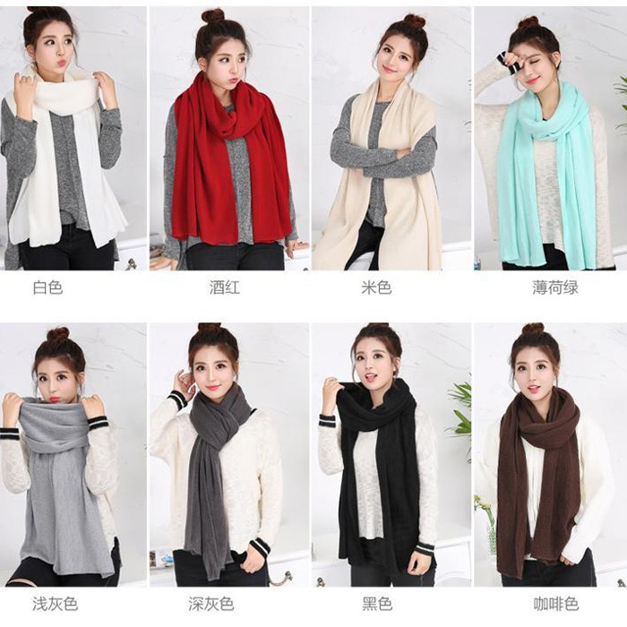 2016 New Knitted Scarf Women Luxury Brand Fashion Pure Neck Cotton Scarf Autumn Winter Scarf Women Warm Cable Knit Long Scarf