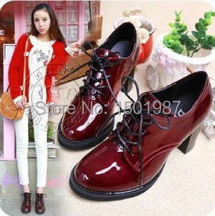 New arrival fall fashion women high boots Classic pu pumps for girls Lady basic shoes size 35-39 two stye red and black(China (Mainland))