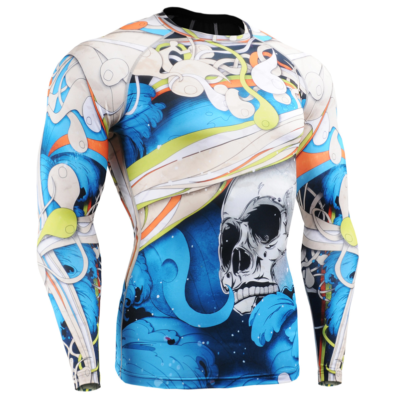 Mens Original New Compression Shirts 3d Print Style Long Sleeves Multiuse MMA GYM Crossfit Running Tops