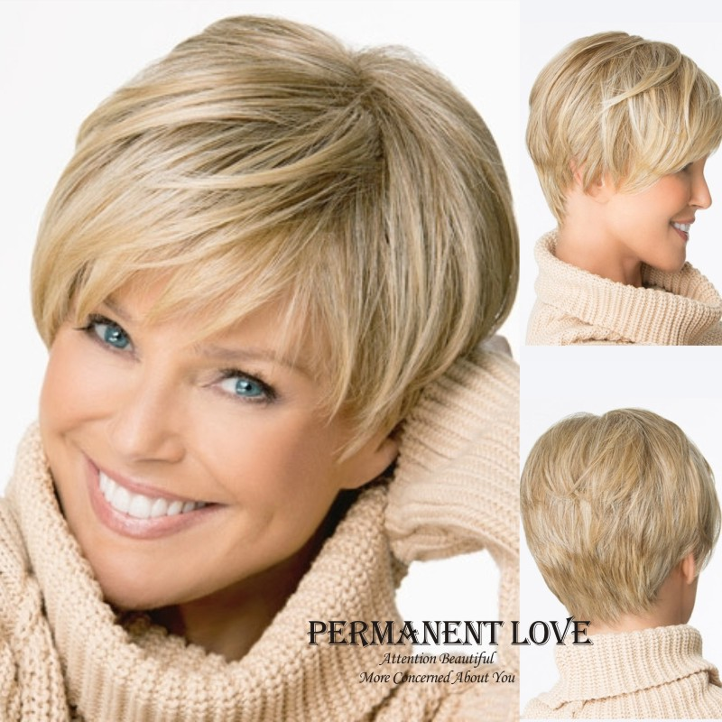 Natural Straight blonde wig with bangs short pixie cut hairstyle Heat Resistant Synthetic hair wigs for Women pelucas pelo corto(China (Mainland))