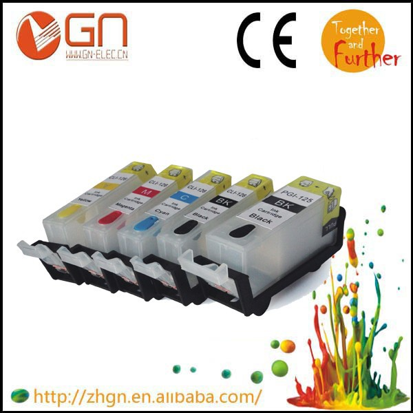 2016 sale 1PCS COLOR/PBK Refill ink cartridge for Canon CLI125 with ARC chip PIXMA IP4810/IP4820 /IP4910/IX6510(China (Mainland))