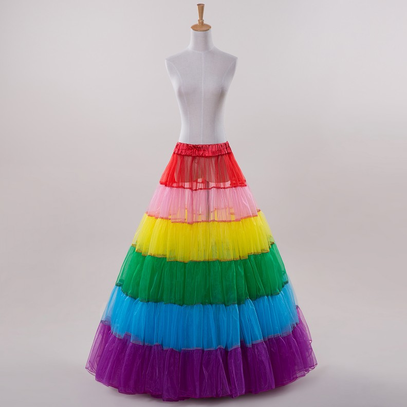 2015 fashionable rainbow color wedding petticoats for Wedding dress petticoat a line