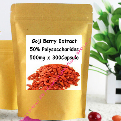 Organic Goji Extract 30% Polysaccharide capsule 500mg x 300pcs for immunity improvement free shipping