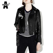 Buy ACHIEWELL Spring ZA Women Black PU Jacket Punk Style Coat Zipper Long Sleeve Letter Print Turn Neck Women Jacket Tops for $28.58 in AliExpress store
