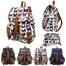 female women ethnic canvas backpack preppy school Lady girl student school Travel laptop bag mochila bolsas Butterfly printed W2(China (Mainland))