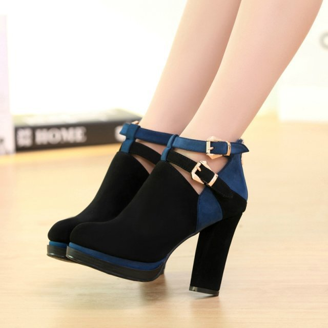 New sexy women high heels minimalist female shoes with thick waterproof England Spring hit deep color mouth single shoes
