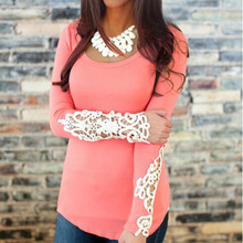 Womens Long Sleeves Tops 2015 New Lace Patchwork Cotton T-Shirt Women O-Neck Blouses