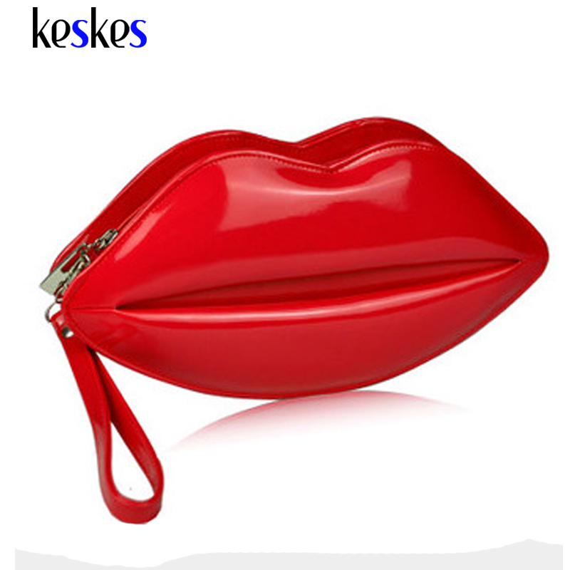 Candy Color Mini Women Messenger Bags Lovely Lip Chain Women Clutch Patent Leather Women Handbags Famous Brand Lady Tote ZCP122(China (Mainland))