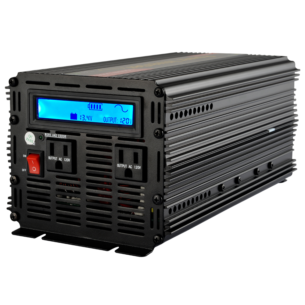 LCD Inverter 12V 110V 120V DC to AC 1500W pure sine wave inverter for home application(China (Mainland))