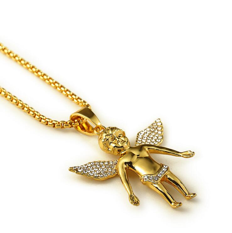 Angel Series/ High Quality 18K real Gold plated Fly Boy Angel Baby Necklaces Pendants Hip Hop Pendants Gold Necklace(China (Mainland))
