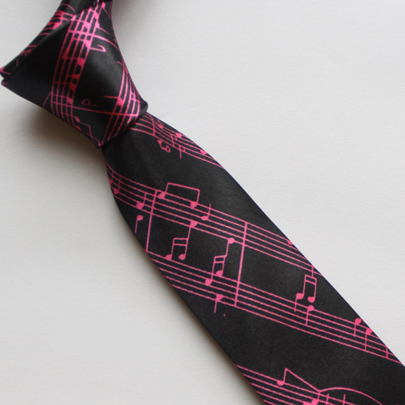 Free shipping polyester silk casual narrow tie cute music notes tie women and men tie wholesale(China (Mainland))