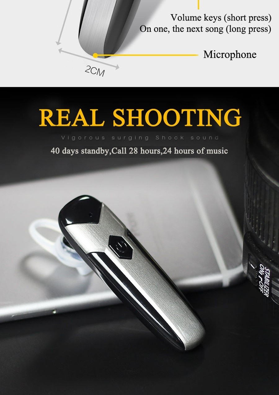 D8 Wireless Bluetooth Earphone 4.1 High Capacity Battery Bluetooth Headset Hands-free Earbud in Car for Smart Phone