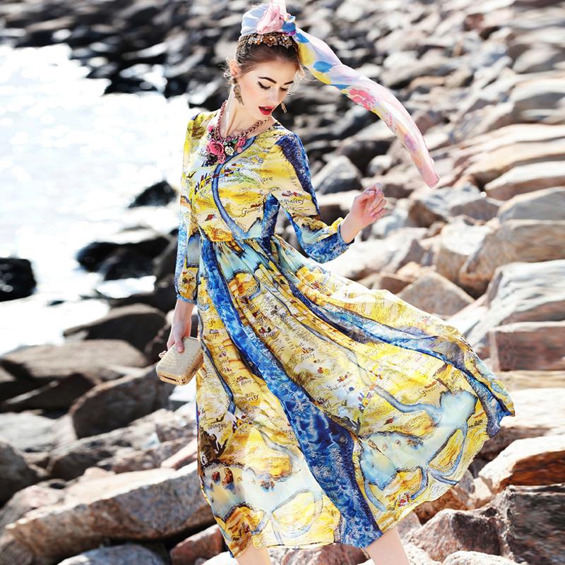 New 2016 runway fashion women spring designer Dress elegant attract prints brand midi dress beach holidays casual dress D5565