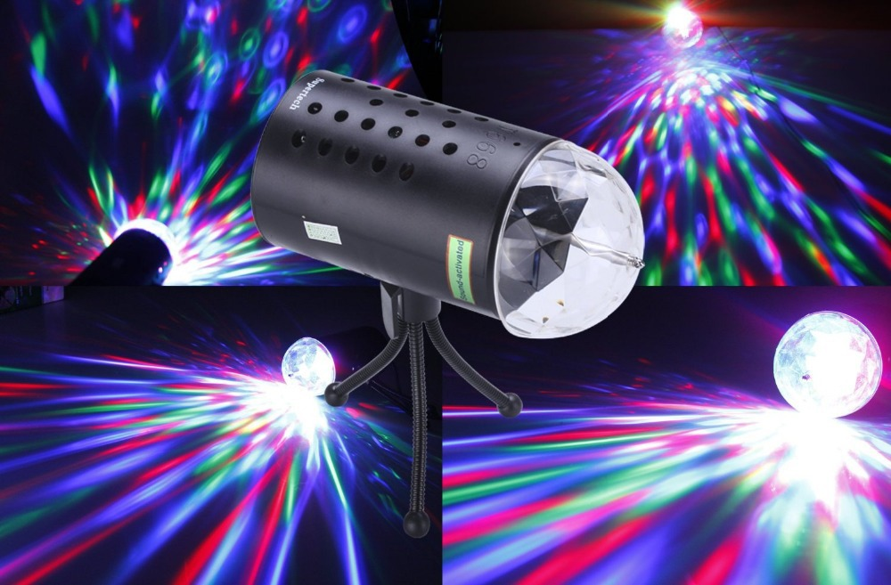 Supertech 3 Color Changing Sound Active With Tripod 3W Rotating Stage Lights For KTV Xmas Party Wedding Show Club Pub Disco DJ(China (Mainland))