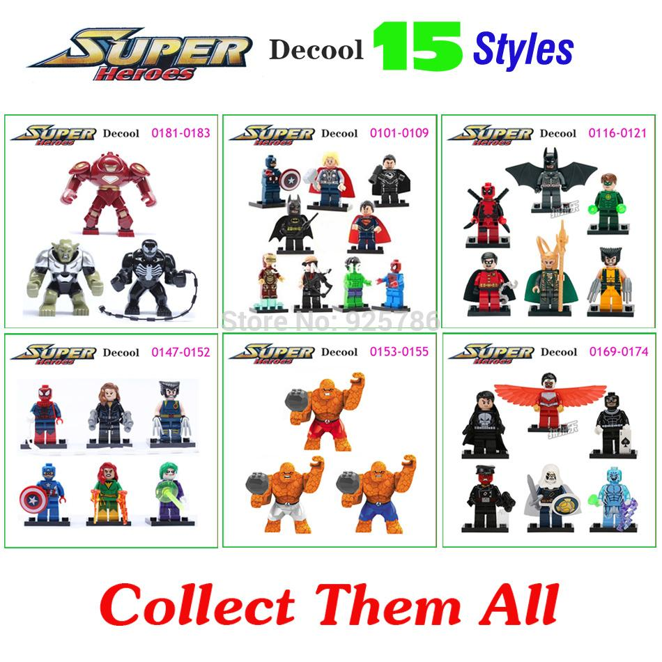 2015 New Collection Decool Super Heroes Minifigures Bricks Building Blocks Toy Kids Learning Education Early Enlightening(China (Mainland))
