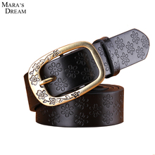 Mara's Dream 2016 Men Belt Hight Quality PU Leather Print Flower Pin Buckle Belts for Men Fashion Wide Belt Brand 110-115 cm