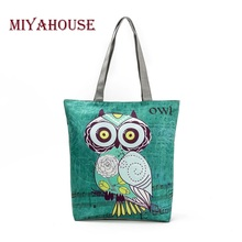 Buy Miyahouse Cute Owl Printed Women's Casual Tote Large Capacity Canvas Female Shopping Bag Ladies Shoulder Handbag Beach Bag for $5.44 in AliExpress store