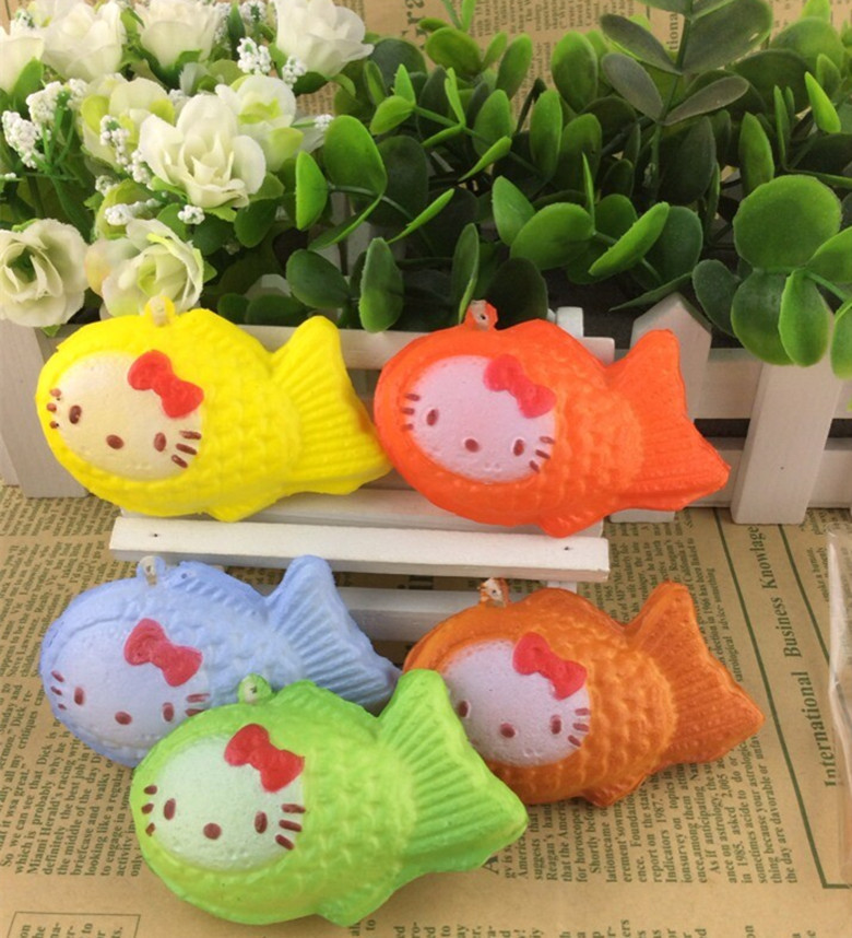 30PCs/lot 5cm hello kitty fish waffle squishy mobile phone strap rare squishies buns cellphone ...