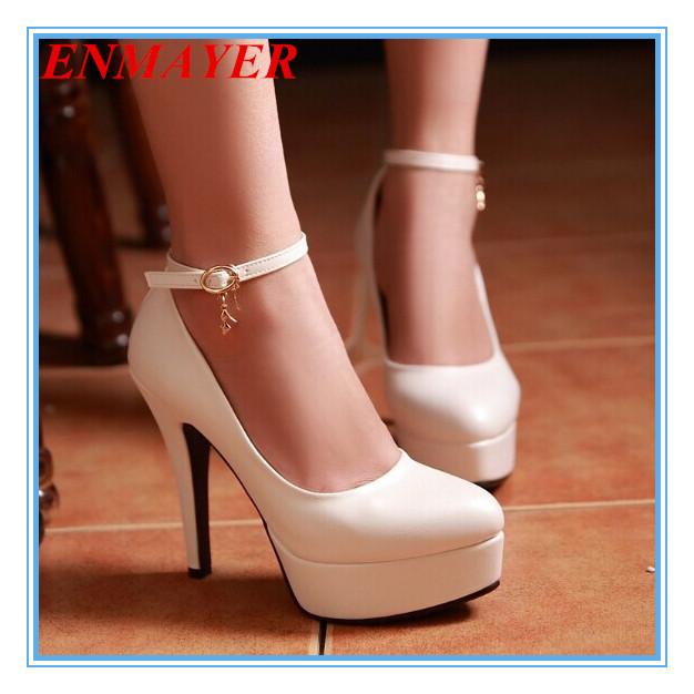 ENMAYER 4 Colors Size 34-43 Sexy High Heels Platform Shoes Pumps Women's Dress Fashion Wedding shoes lady Pump shoes women