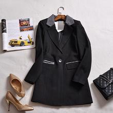 Women Autumn Winter Blazer Jacket Coat Fashion Office Ladies Grey Patchwork Black Blazer Coat Suit Jacket Plus Size Blazer Women(China (Mainland))