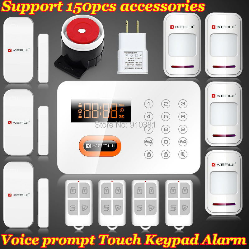 KERUI Wireless 120 Zones Touch GSM PSTN Home English/Spanish/Russian Menu PIR Kit Security Voice Alarm System Auto Dialer LCD(China (Mainland))