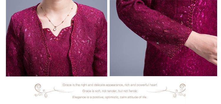 2016 New Good Quality Elegant Temperament Women Dress Suits Plus Size For Mother Beatiful Lace Suits M-4xl