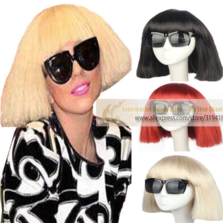 US / CN Fashion Cosplay Wig Women's Short Bob Kinky Straight Full Bangs Synthetic Hairpieces Black / Blonde / Red Synthetic HOT(China (Mainland))