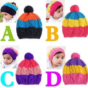 multi-color candy cap rainbow stripe cap male female child baby knitted hat child knitted hat ball hat