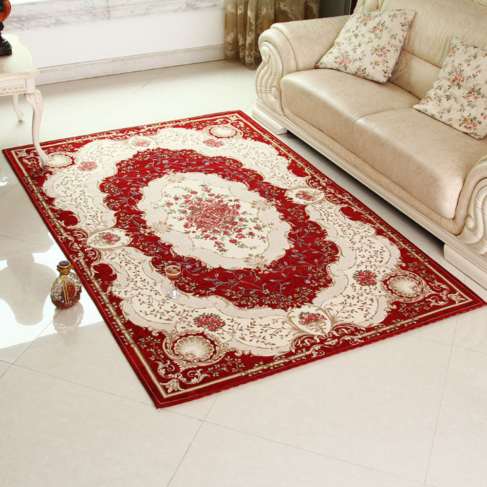 European style non slip thicken rectangle living room floral area carpet classical bedroom floor for Country style area rugs living room